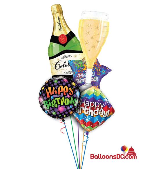 Champagne Toast Birthday Balloon Bouquet