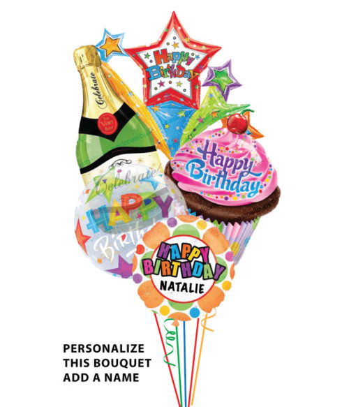 4 Large Mylar Balloons: 1 Champagne Bottle, 1 Cupcake, 1 Transparent, 1 Personalized